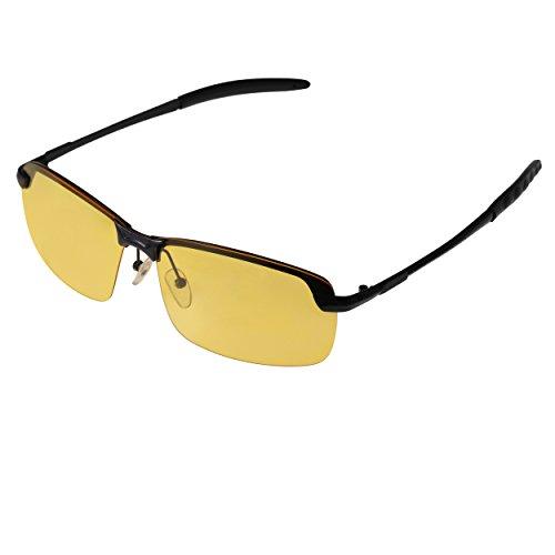 Treiber Nachtsicht Brille Forepin® UV400 Polarisierte Objektiv Anti-Glanz Auto Fahren Sonnenbrillen Gelbe Linse Brillen für Fahren Motorradfahren Angeln Golf Strand Reisen usw. Outdoor-Sport (Schwarz)