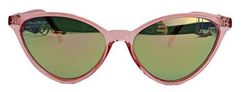 kleinere filigrane Damen Brille im 50er 60er Jahre Cat Eye Stil Sonnenbrille oder Nerdbrille C78 (Rosa/Gold verspiegelt)