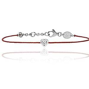 Bracelet sur fil rouge avec son diamant de 0,09 serti clos en forme de coeur - Identity Coeur - Vanessa Tugendhaft