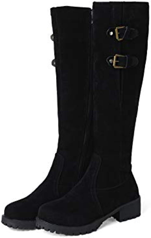 Wouomo stivali Stivali Lunghi con Tacco Largo Largo Largo da Donna con Tacco Largo | Eccellente qualità  | Scolaro/Signora Scarpa  665811