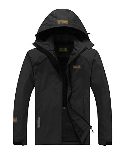 Hombre Mujer Exterior Softshell Impermeable Camping Senderismo Transpirable Chaqueta Negro1 3XL
