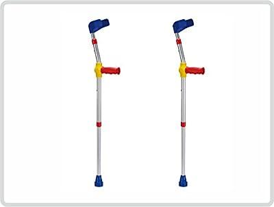 Kinder-Unterarmgehstützen Krücken Gehhilfen 1 Paar Leichtmetall mit Reflektoren, Farbe: BUNT
