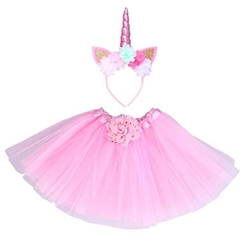 Toyvian Costume Unicorno Tutu Arcobaleno Gonna Tulle Unicorno Bambina con Cerchietti per Capelli Unicorno con Gatto Orecchie e Fiori per neonata (Rosa)