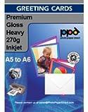 """PPD DIN A5 Inkjet """"Super Premium"""" Grußkarten Fotopapier beidseitig bedruckbar glänzend/matt 270g, DIN A5 gefalzt auf DIN A6 x 50 Karten PPD-91-50"""
