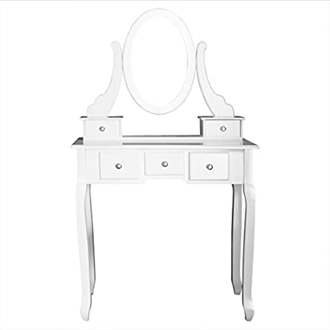 5 Drawers Dresser White Dressing Table with Oval Mirror and Stool (UK Stock)