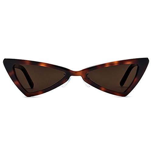 HYH New Kleine Grenze Polarisierte Sonnenbrille Mode Dreieck Brille Weibliche Retro-Platte Katzenauge Sonnenbrille Leopard Rahmen Rahmen Braune Linse UV400 Schutz Schönes Leben