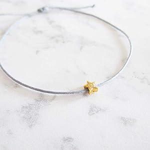 Armband mit Sternchen 925er Sterlingsilber vergoldet | Sternenkind Sternenmama | Grau