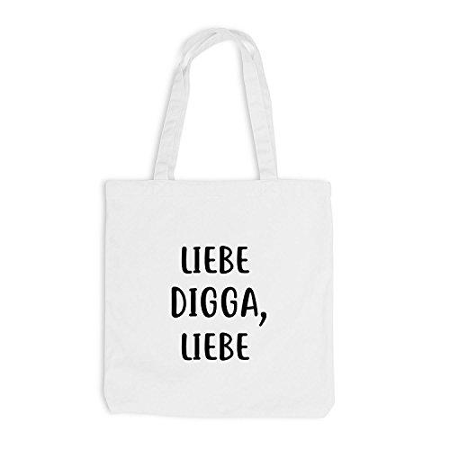 Borsa Di Juta - Love Digga, Love - Love Hamburg Style Gift Fun White