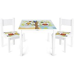 Table et 2 chaises Enfant Motif De Hiboux Chambre Enfant Meuble Enfant Mobilier Chaise d'Enfant Baby Table Pour Enfants Petit Bureau Couleur Blanc Avec Motif