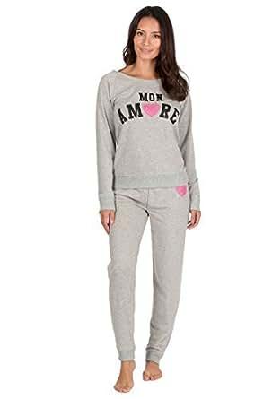 Best Deals Direct Ladies Jogging Style Pyjama Set Lounge Pjs (Small (8-10), Grey MON Amore)