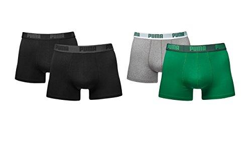 Puma Herren Shortboxer Basic Unterhosen 4er Pack in verschiedenen Farben 521025001 (2er schwarz (200)/2er grün/grau (665), S)