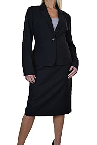 ICE Womens Fully Lined Skirt Suit Smart Business Office Black 8-22 (22)