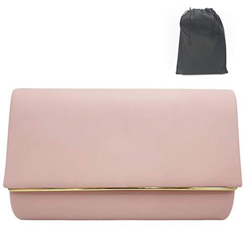 Luxx Fashion Clutch Rosa- elegante Clutch Rose Gold- schicke Clutch Nude- modische kleine Tasche Rosa- kleine Umhängetasche Damen- kleine Handtasche Rosa- Abendtasche für festliche Anlässe -