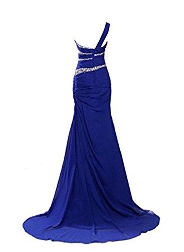 Vickyben Damen langes EinSchulter Perlen Meerjungfrau Abendkleid ...