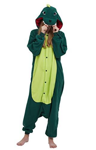 Jumpsuit Onesie Tier Karton Fasching Halloween Kostüm Sleepsuit Cosplay Overall Pyjama Schlafanzug Erwachsene Unisex Lounge Kigurumi Grün Dinosaurier for Höhe 140-187CM