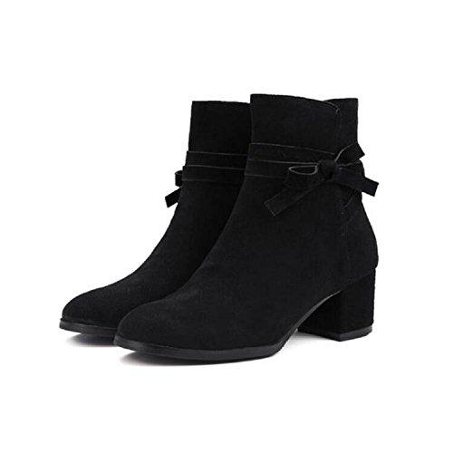 YYH Stivali in pelle nabuk Bow temperamento grossolana con il nudo femminile nel Signore breve Bootie caviglia Casual scarpe . black . 36