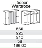 Germanica BAVARI Bedroom Furniture: 5-Door Wardrobe in Mirrored and Washed Oak Colour [Includes Full Assembly Service]