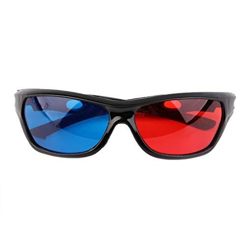 Fangjuhua Black Frame Rot Blau 3D-Brille für Anaglyph Movie Game DVD Brillen