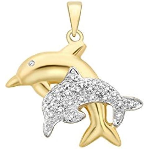 9ct oro 2colori con doppio delfino ciondolo