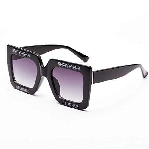 DAIYSNAFDN Große glänzende Sonnenbrillen für Frauen Brief Square Frame Sonnenbrille Mode Shades 2