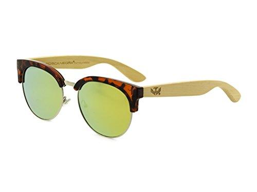 Gafas de madera MOSCA NEGRA modelo MIX METAL OMEGA LEOPARD Polarizadas - Wood Sunglasses