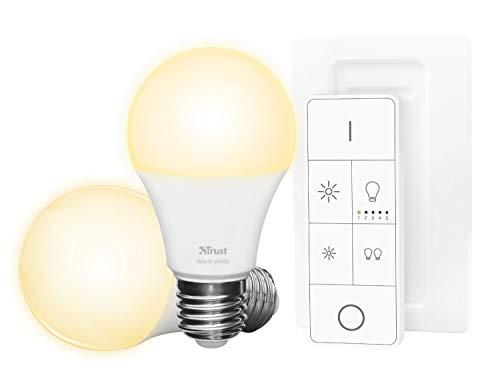 Trust ZLED-2709R Set di Base con 2 Lampadine LED a Luminosità Regolabile e Telecomando ZigBee, Bianco