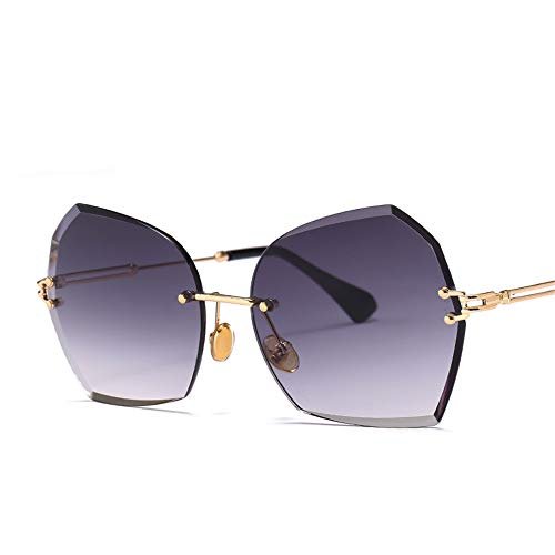 SLONGK Lady Frameless Cat Eye Sonnenbrille Schmetterlingsform Legierungsbrille Kristalllinse Uv400