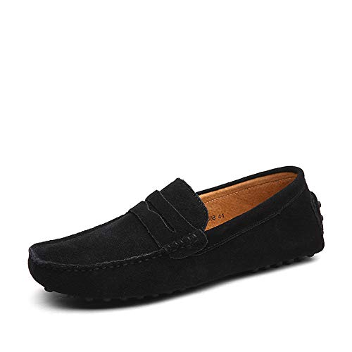 DUORO Herren Klassische Weiche Mokassin Echtes Leder Schuhe Loafers Wohnungen Fahren Halbschuhe (39,Schwarz)