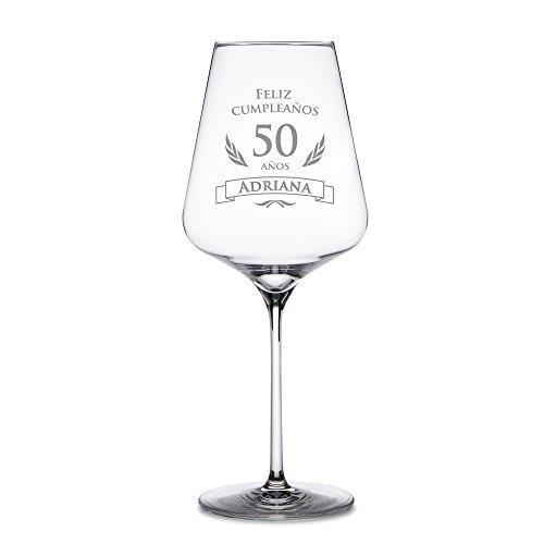 AMAVEL Copa Vino Tinto 50 Cumpleaños Personalizada
