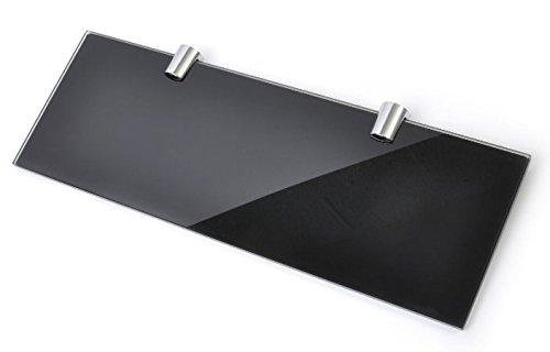 Schwarz glänzend Glas Regal mit zwei Chrom Finish Klammern 300mm x 100mm ESG -