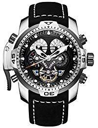REEF TIGER Herren Uhr analog Automatik mit Leder Armband RGA3503-YBBLB
