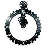 Invotis Coole Wanduhr: Big hour wheel clock in schwarz
