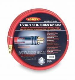 Preisvergleich Produktbild Workforce Series Rubber Air Hose 3 / 8 Inch MNPT Ends,  Bend Restrictors 1 / 2 Inch ID x 50 Ft by Legacy MFG