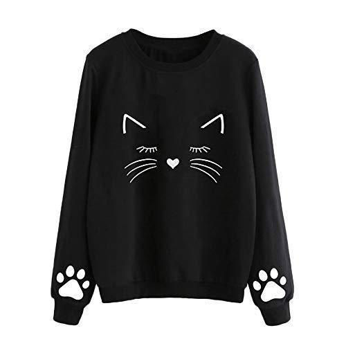 Wolle Gabardine (iHENGH Damen Herbst und Winter Cat Sweater Frauen Rundhals Langarm regelmäßige Bluse)