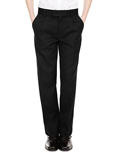 Boys Sturdy Fit School Trousers Plus Fit Elasticated Waist (Ages 7-16) XS - 3XL Generous Fit Wider Waist Shorter Leg - Black Grey