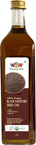 WOW Cooking Oils Organic Black Mustard Seed Cooking Oil, 1L