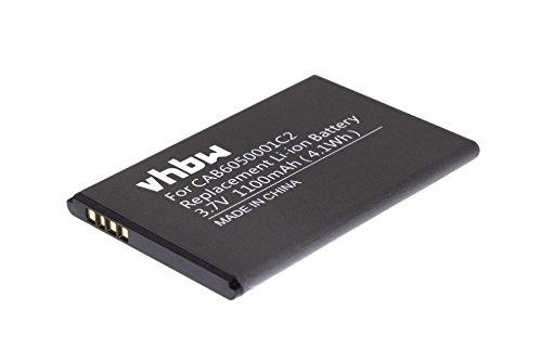 vhbw Li-Ion Akku 1100mAh (3.7V) für Handy, Smartphone, Telefon Alcatel One Touch V860, Vodafone Smart II, V860 wie CAB6050001C2.