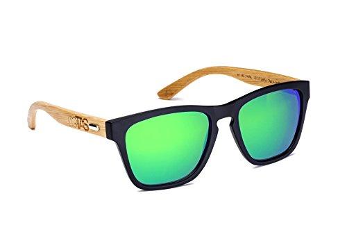 Take A Shot | Sonnenbrille | The Little Mermaid | mit Bügeln aus Bambus | grün verspiegelt