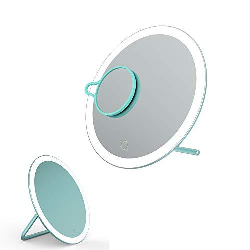 Beleuchtet Schminkspiegel Lupe 360 ° Schwenkbar Touch-Screen Blendfreier Beleuchtung für Zuhause und Reise -Grün ()