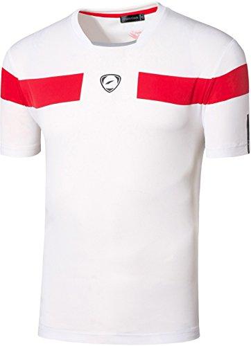 Jeansian Uomo Asciugatura Rapida Sportivo Casuale Slim Sports Fashion Tee T-Shirts Camicie LSL1059 LSL120_White