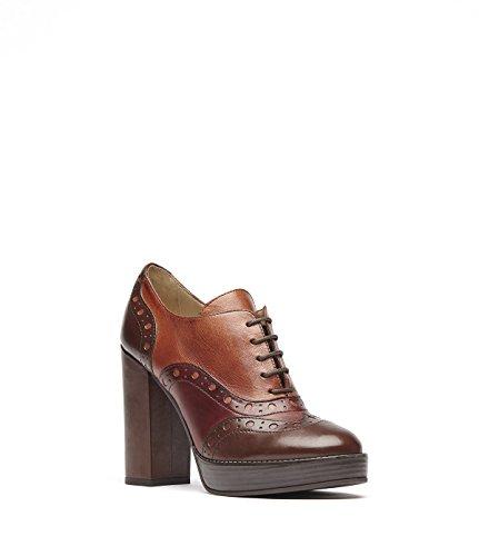 PoiLei Aida - Damen-Schuhe / exklusive Budapester Plateau-Schnürschuhe aus Echt-Leder - mit hohem Block-Absatz und Front-Schnürung - braun