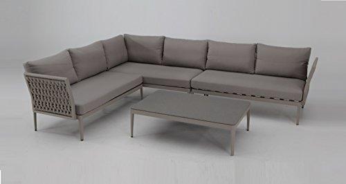 Sofa Rinconera terraza aluminio taupe cuerda azul LUZERN