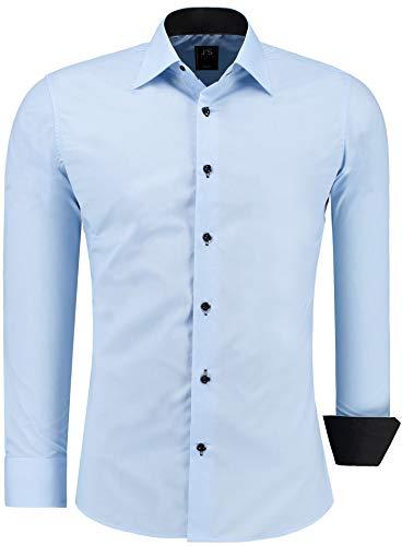 J'S FASHION Herren-Hemd - Slim-Fit - Bügelleicht - EU Größen: S bis 6XL - Hellblau M
