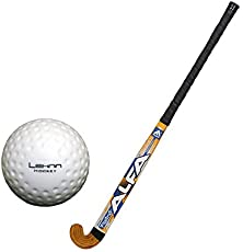 Alfa Platino Single Glass Fibre Hockey Stick Length 37 Inch with Lehnn Hockey Practice Ball (Multicolor)