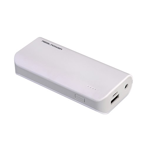 RealPower PB-4000 externer kompakter Akku Batterie Handy Ladegerät Powerbank 4000 mAh für iPhone, iPad, Samsung Galaxy und weitere Smartphones (weiß)