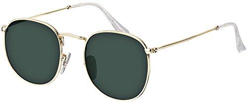 Sonnenbrille La Optica UV 400 Schutz Unisex Damen Herren Retro Rund Round - Gold Gestell (Gläser: Grün Klassisch)