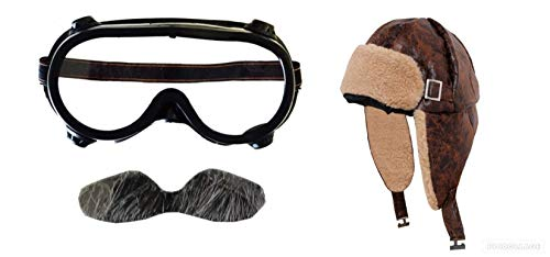 Seemeinthat Childs Biggles aviator moustache hat and goggles, WW1 veteran pilot great for book week and fancy dress party's
