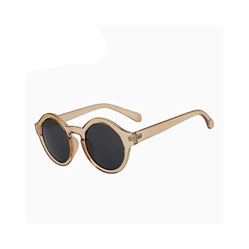 Sportbrillen, Angeln Golfbrille,Round Circle Sunglasses Women Retro Vintage Sun Glasses For Women Brand Designer Sunglasses Female Oculos Gafas De Sol Mujer Champagne frame