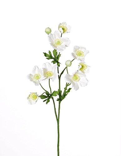 artplants Set 3 x Künstliche Anemone FURONA, 8 Blüten, Creme, 55 cm, Ø 3-5 cm – Deko Windröschen/Kunstblume