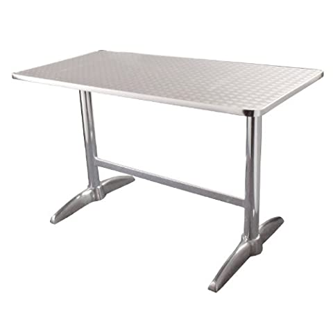 Garden / Patio Rectangular Table with Stainless Steel Top & Aluminium Rim - 120x60cm - stylish and durable furniture for your